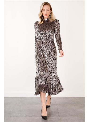 Ekol Ekol Kadın Dik Yaka Desenli Kadife Uzun Elbise 6054051  Gümüş